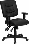 Low Back Black Leather Multi-Functional Swivel Task Chair with Height Adjustable Arms [GO-1574-BK-A-GG]