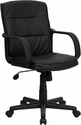Mid-Back Black Leather Office Chair with Nylon Arms