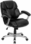 Mid-Back Black Leather Swivel Task Chair [GO-931H-MID-BK-GG]