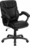 Mid-Back Black Leather Overstuffed Swivel Task Chair [GO-724M-MID-BK-LEA-GG]