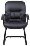 Mid Back LeatherPLUS Guest Chair with Sled Base - Black [B7309-FS-BOSS]