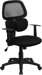 Mid-Back Black Mesh Swivel Task Chair with Flexible Dual Lumbar Support [BT-2755-BK-GG]