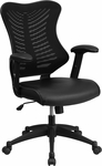 High Back Black Designer Mesh Executive Swivel Office Chair with Leather Padded Seat [BL-ZP-806-BK-LEA-GG]