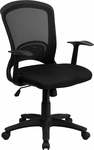 Mid-Back Black Mesh Swivel Task Chair with Mesh Padded Seat [HL-0007-GG]