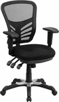 Mid-Back Black Mesh Swivel Task Chair with Triple Paddle Control [HL-0001-GG]