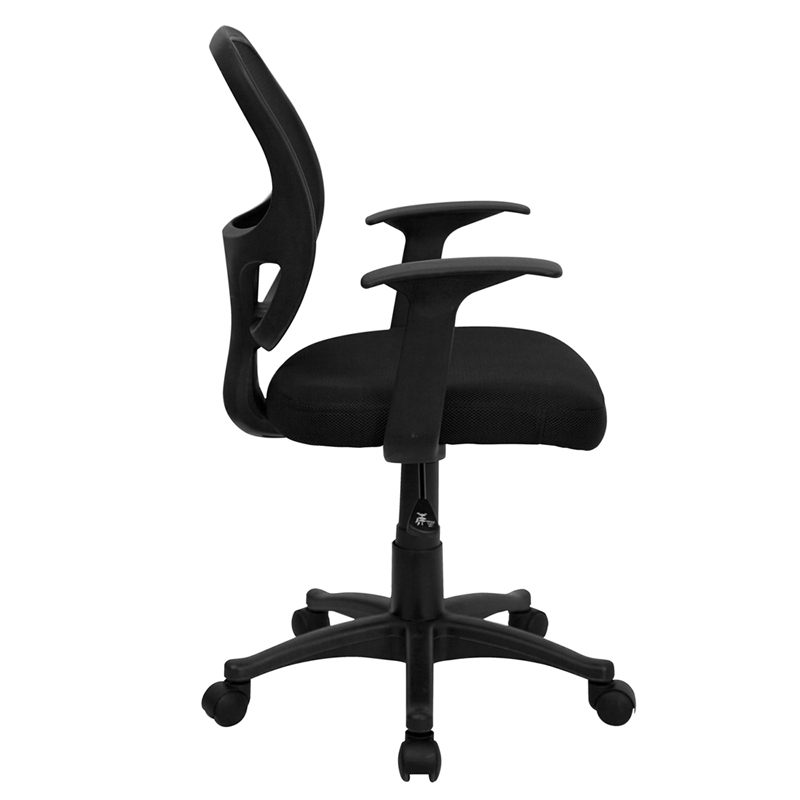 Mid Back Black Mesh Swivel Task Chair With Arms LF W 118A BK GG By Flash Fur