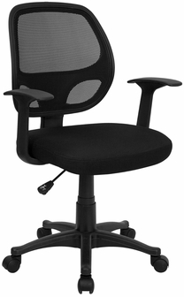 Mid Back Black Mesh Swivel Task Chair With Arms Lf W 118a
