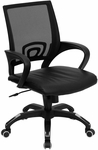 Mid-Back Black Mesh Swivel Task Chair with Black Leather Padded Seat [CP-B176A01-BLACK-GG]