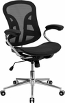 Mid-Back Black Mesh Swivel Task Chair with Chrome Base and Padded Arms [BT-2779-GG]