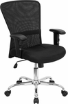 Mid-Back Black Mesh Contemporary Swivel Task Chair with Chrome Base and Height Adjustable Arms [GO-5307B-GG]