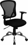Mid-Back Black Mesh Swivel Task Chair with Chrome Base [H-8369F-BLK-GG]