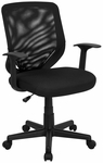 Mid-Back Black Mesh Swivel Task Chair with Mesh Padded Seat [LF-W-95A-BK-GG]