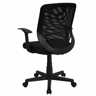 Mid Back Black Mesh Swivel Task Chair With Mesh Padded Seat LF W 95A BK GG B