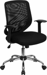 Mid-Back Black Mesh Swivel Task Chair with Mesh Padded Seat [LF-W95-MESH-BK-GG]