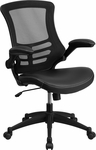 Mid-Back Black Mesh Swivel Task Chair with Leather Padded Seat and Flip-Up Arms [BL-X-5M-LEA-GG]