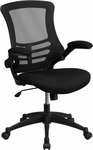 Mid-Back Black Mesh Swivel Task Chair with Mesh Padded Seat and Flip-Up Arms [BL-X-5M-BK-GG]