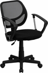 Low Back Black Mesh Swivel Task Chair with Arms [WA-3074-BK-A-GG]