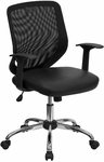 Mid-Back Black Mesh Swivel Task Chair with Leather Padded Seat [LF-W95-LEA-BK-GG]