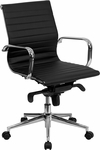Mid-Back Black Ribbed Upholstered Leather Swivel Conference Chair [BT-9826M-BK-GG]