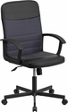 Mid-Back Black Vinyl and Dark Gray Mesh Racing Executive Swivel Office Chair