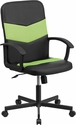 Mid-Back Black Vinyl and Green Mesh Racing Executive Swivel Office Chair