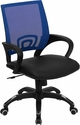 Mid-Back Blue Mesh Swivel Task Chair with Black Leather Padded Seat