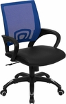 Mid-Back Blue Mesh Swivel Task Chair with Black Leather Padded Seat [CP-B176A01-BLUE-GG]