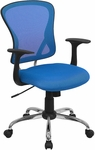 Mid-Back Blue Mesh Swivel Task Chair with Chrome Base [H-8369F-BL-GG]