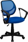 Low Back Blue Mesh Swivel Task Chair with Arms [WA-3074-BL-A-GG]