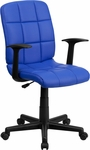 Mid-Back Blue Quilted Vinyl Swivel Task Chair with Nylon Arms [GO-1691-1-BLUE-A-GG]