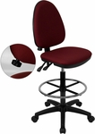 Mid-Back Burgundy Fabric Multi-Functional Drafting Chair with Adjustable Lumbar Support [WL-A654MG-BY-D-GG]