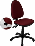 Mid-Back Burgundy Fabric Multi-Functional Swivel Task Chair with Adjustable Lumbar Support [WL-A654MG-BY-GG]