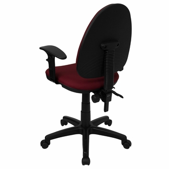 Mid Back Burgundy Fabric Multi Functional Swivel Task Chair With Adjustable L