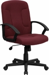 Mid-Back Burgundy Fabric Executive Swivel Office Chair with Nylon Arms [GO-ST-6-BY-GG]