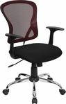 Mid-Back Burgundy Mesh Swivel Task Chair with Black Mesh Padded Seat and Chrome Base [H-8369F-BG-GG]