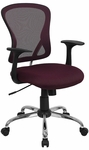 Mid-Back Burgundy Mesh Swivel Task Chair with Chrome Base [H-8369F-ALL-BY-GG]