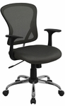 Mid-Back Dark Gray Mesh Swivel Task Chair with Chrome Base [H-8369F-DK-GY-GG]