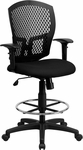 Mid-Back Designer Back Drafting Chair with Padded Fabric Seat and Height Adjustable Arms [WL-3958SYG-BK-AD-GG]