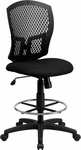 Mid-Back Designer Back Drafting Chair with Padded Fabric Seat [WL-3958SYG-BK-D-GG]