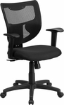 Galaxy Mid-Back Black Mesh Designer Back Swivel Task Chair with Padded Fabric Padded Seat and Adjustable Height Arms [WL-F061SYG-MF-A-GG]