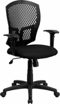 Mid-Back Designer Back Swivel Task Chair with Padded Fabric Seat and Height Adjustable Arms [WL-3958SYG-BK-A-GG]