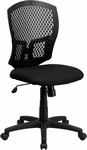 Mid-Back Designer Back Swivel Task Chair with Padded Fabric Seat [WL-3958SYG-BK-GG]
