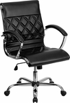Mid-Back Designer Black Leather Executive Swivel Chair with Chrome Base and Arms [GO-1297M-MID-BK-GG]