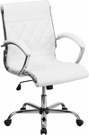 Mid-Back Designer White Leather Executive Swivel Office Chair with Chrome Base [GO-1297M-MID-WHITE-GG]