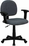 Low Back Gray Fabric Swivel Task Chair with Adjustable Arms [BT-660-1-GY-GG]