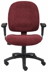 Mid Back Contoured Cushion Ergonomic Task Chair with Adjustable Armrests - Wine [B495-WN-FS-BOSS]