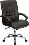 Mid-Back Espresso Brown Leather Swivel Manager's Chair with Arms [BT-9076-BRN-GG]