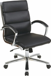 Work Smart Mid Back Executive Faux Leather Chair with Polished Chrome Finish - Black [FL5388C-U6-FS-OS]
