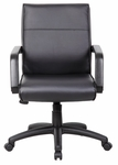 Mid Back LeatherPlus Executive Chair with Lumbar Support- Black [B686-FS-BOSS]