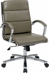 Work Smart Mid Back Executive Faux Leather Chair with Polished Aluminum Finish - Smoke [FL5388C-U22-FS-OS]